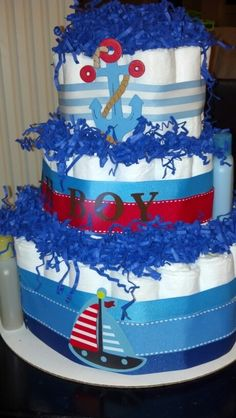 Sailor boy #diapercake #babyboy #babyshower
