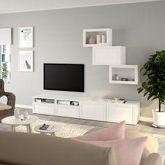 BESTÅ TV storage combination/glass doors, white, Hanviken white clear glass, cm (CA) - IKEA Tv Storage, Storage Spaces, Record Storage, Media Storage, Tv Wanddekor, Wall Unit Designs, Tv Bench, Tv Wall Decor, Living Room Tv