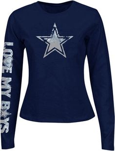 Dallas Cowboys Women's Navy Stardust Long Sleeve T-Shirt