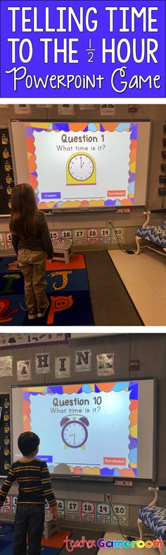 Tell time to the half hour for the Smartboard game. Great for 1st grade. CCSS aligned.
