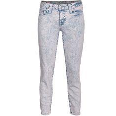 True Religion Brooklyn Cropped Blue Skinny Jeans With Acid Wash (230 NZD) ❤ liked on Polyvore featuring jeans, pants, bottoms, pantalones, 80s jeans, ankle length skinny jeans, true-religion skinny jeans, cropped skinny jeans and slim skinny jeans
