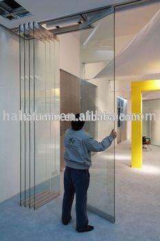 Tabiques móviles plegable partición pared de cristal único 12mm puertas plegables