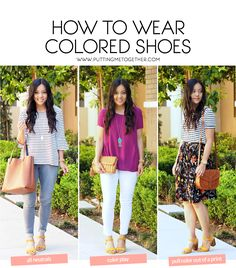 Three tips for wearing colored shoes!  These can be used with any colored shoes, or you can get these yellow heels here: http://rstyle.me/n/cpak6pmvte