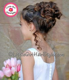Girls Chic Up-do Hairstyle with Tendrils Amazing styles for all young girls to dances, parties, weddings and formal occasions, of course lets not forget birthdays. Find more designs at our website.
