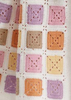 Crochet Baby Mat crocheted with Baby Smiles Cotton Crochet Square Blanket, Crochet Quilt, Granny Square Crochet Pattern, Crochet Squares, Crochet Blanket Patterns, Baby Blanket Crochet, Baby Knitting Patterns, Crochet Motif, Crochet Stitches