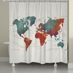 World Map Shower Curtain 1499 Target