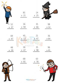 Math Worksheets – 2 Digit by 2 Digit Multiplication - Kids education and learning acts Printable Multiplication Worksheets, Math Practice Worksheets, Math Multiplication, Fun Math, Math Activities, Math Games, Math Math, Math Drills, Math Sheets