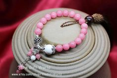 Fashion beads bracelet Pink & White stone beads by TheGiftWorld, $13.98