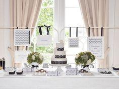 Elegant Black and white dessert table via Amy Atlas