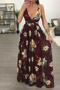 Latest Women Dresses Fashion Outfit Ideas For 2019 Skirt Outfits, Dress Skirt, Dress Up, Maxi Skirts, Backless Maxi Dresses, Floral Maxi Dress, Casual Dresses, Fashion Dresses, Summer Dresses