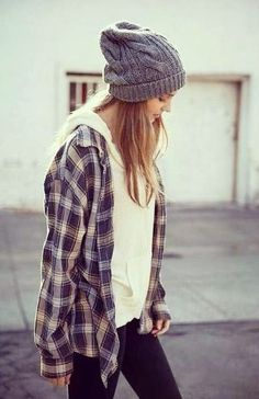 flannel, sweater, and beanie, Usual street style