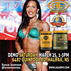 Demo Alert!!! Tomorrow at @oem_halifax with @sjohnsonag! Try out #athletessuperfood and get a look at the brand new #estrofree from @agarmygirl.  #agarmy #agarmygirl #bikini #superfood #fitnessmotivation #fitfam #fitspo #pushpullgrind #healthy #organic #supplements #sample #halifax #muscle #fatloss #contestprep #lifestyle #fit #girlswholift
