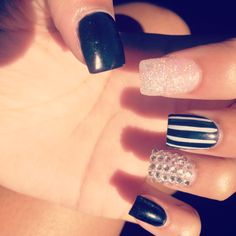 Acrylic Nails. Black Stripes, Rhinestone & Glitter.