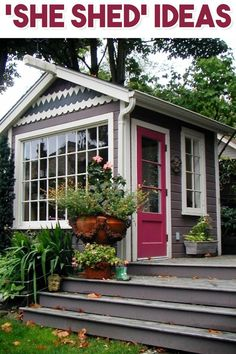 Shedquarters Backyard Office Ideas - Shed Office Ideas (She Sheds AND He Sheds & # She Shed Shed Office, Backyard Office, Backyard Retreat, Backyard Patio, Backyard Ideas, Shed Makeover, Shed Signs, Custom Sheds, Woman Cave