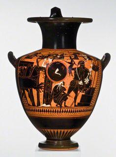 Water Jar with the Sack of Troy (Iliupersis), Greek, about 520–500 B.C. Black-figured <em>hydria</em> attributed to the Leagros Group. Terracotta. Staatliche Antikensammlung und Glyptothek München