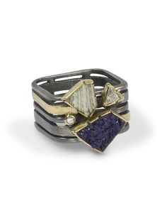 This one-of-a-kind Coral Azurite and Diamond Ring will knock your socks off!! Nature in all its glory! Coral collected from the oceans of Italy, Azurite from the mountains of Morocco …sparkling diamonds to add that special something… drool! Square band makes this ring extra comfy, with the extra knu