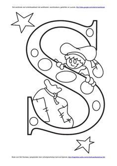 Letter S van #Sinterklaas Kleuplaat van de letters van de kinderen.
