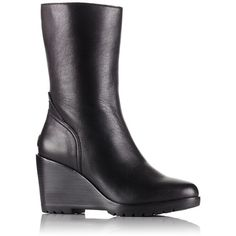 Sorel Women's After Hours Leather Mid Wedge Booties ($162) ❤ liked on Polyvore featuring shoes, boots, ankle booties, black, black wedge booties, wedge booties, wedge boots, waterproof leather boots and leather wedge boots