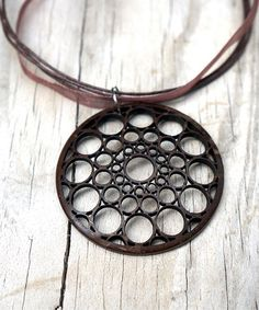 Another great find on #zulily! Brown Coconut Shell Yoga Mandala Cutout Pendant Necklace #zulilyfinds