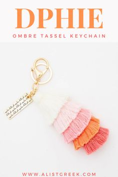 Meet your new favorite accessory that perfectly blends a current trend and sorority spirit. With fun, colored tassels and a unique Kappa Alpha Theta engraved charm, this ombre tassel keychain is perfect to add to any keys, purse or backpack! Kappa Alpha Theta, Delta Phi Epsilon, Pi Beta Phi, Alpha Delta, Phi Mu, Sorority Big Little, Big Little Gifts, Tassel Keychain, Sorority Gifts