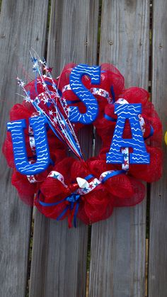 USA Deco Mesh Wreath.