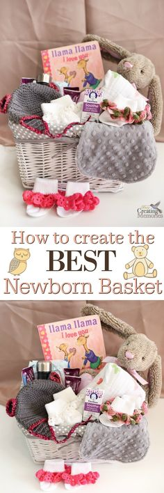 DIY the Best Newborn Gift Basket Don't give the same old boring gifts after a new baby arrives! Learn how to make the best newborn gift basket and the best items that stand out and help the new mom! via Busy Creating Memories Baby Shower Gift Basket, Baby Baskets, Gift Baskets, Raffle Baskets, New Mom Gift Basket, Diy Baby Gifts, Baby Girl Gifts, Newborn Gifts, Baby Newborn