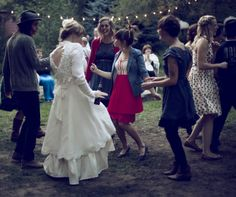 have a super chill wedding reception, outside, in someone's yard, with twinkly lights, and lots of dancing.  <3