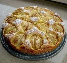 Schneller Apfelkuchen Für den Teig: 125 g Zucker 125 g Butter 3 Ei(er) 200 g Mehl 1 Pck. Backpulver 1 EL Milch 1 Zitrone(n), unbehandelt, die Schale Für den Belag: 700 g Äpfel etwas Puderzucker, zum Bestreuen
