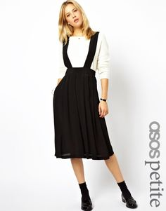 Shop ASOS PETITE Midi Skirt with Braces. With a variety of delivery, payment and return options available, shopping with ASOS is easy and secure. Shop with ASOS today. Midi Rock Outfit, Midi Skirt Outfit, Skirt Outfits, Casual Outfits, Fashion Outfits, Fashion Women, Fashion Online, Black Pleated Midi Skirt, Pinafore Skirts