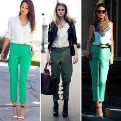 Dicas de como usar calça verde. http://www.feminices.blog.br/como-usar-calcas-verdes/