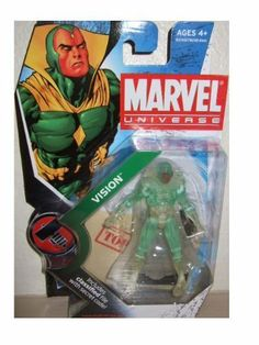 """Marvel Universe 3 3/4 Inch Series 6 Action Figure #6 Vision Phasing Variant by Hasbro Toys. $52.89. Comes with a stand, weapon accessory and a S.H.I.E.L.D. file with secret code. For Ages 4 & Up. Marvel Universe 3 3/4"""" action figure from Hasbro. Vision (Phasing Variant) is figure #6 from Marvel Universe Series 2. Marvel Universe Series 2 Vision Phasing Clear Variant"""