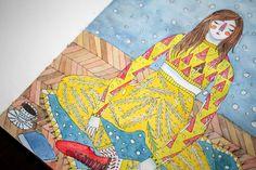 Yoga Girl #yoga #chill #coffee #illustration #pen #watercolor #winter #home #cosy #borislavaaaa
