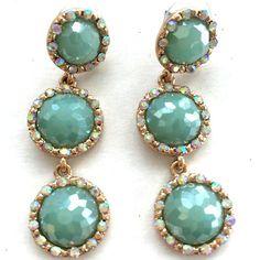 Mint Green Crystal Drop Earrings