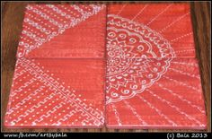 HPC-039: Coral pink with white (sold) Hand-painted henna-style coasters, with acrylics  resin,  (c) Bala Thiagarajan