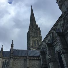 Salisbury cathedral spire the tallest in England. A wooden structure exists inside thought to date back to between 1364 and 1376. Not a good day for a view from the spire with the hail hitting hard.  #aliceblogg
