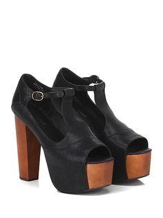 JEFFREY CAMPBELL - Sandalo alto - Donna - Sandalo alto in pelle effetto vintage con cinturino su collo piede e suola in gomma. Tacco 125, platform 50 con battuta 75. - BLACK - € 135.00