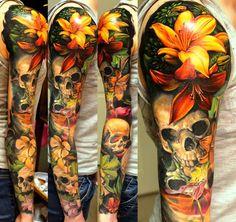 Pin de jessy sanchez em tattoos lily tattoo design, lillies tattoo e nature Lilly Flower Tattoo, Skull Tattoo Flowers, Flower Skull, Flower Tattoo For Men, 3d Flower Tattoos, Hibiscus Flower Tattoos, Hibiscus Flowers, Lily Tattoo Design, Lotus Flower Tattoo Design