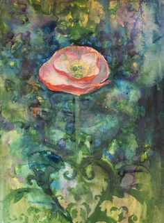 "Saatchi Online Artist: Annie Flynn; Mixed Media, Painting ""Sweet Single Poppy"""