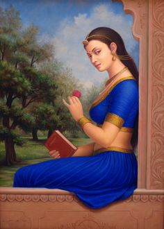 Young Indian Woman Dressed In Blue And Gold, Oils Oil Painting on CanvasArtist: Anup Gomay Indian Women Painting, Indian Art Paintings, Indian Artist, Sexy Painting, Woman Painting, Rajasthani Painting, Indian Drawing, Indian Beauty Saree, Beautiful Paintings