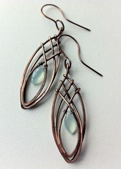 Copper criss-cross elongated earrings | Flickr - Photo Sharing!