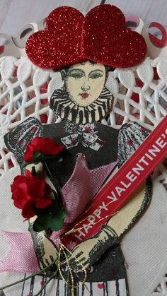Valentine created by Brenda Enright using Character Constructions Doll Stamps by Catherine Moore.