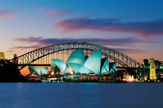 Interesting shot of Opera House with Sydney Harbour Bridge behind