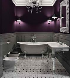 Purple Walls and wainscoting! Great Idea for my scrapbook room!