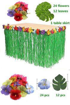 Hawaiian Luau Green Grass Table Skirt W Leaves & Flowers Party Tabletop Decor #YAYALE #LuauBeachParty