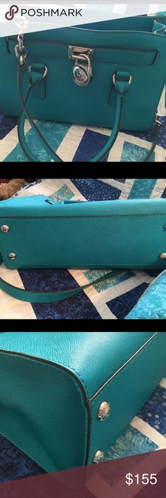 Michael Kors small Hamilton Beautiful turquoise blue MK Hamilton in excellent condition. This bag is roughly 12x9x41/2 and comes from a smoke free home MICHAEL Michael Kors Bags Satchels