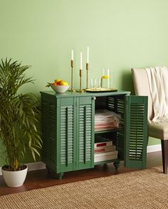 How to Turn Shutters Into a Pretty Cabinet