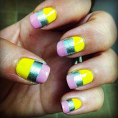 Back to school pencil nails School Nail Art, Back To School Nails, Get Nails, Hair And Nails, Pencil Nails, Pedi Perfect, Different Types Of Nails, Classroom Rules, Toe Nail Designs