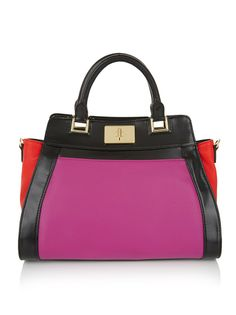 Colourblock satchel bag   Every girl should own a fashion item that will instantly update any outfit she wear, and this colourblocked satchel with detachable long strap is just it. The bag has pink lining with two compartments and a zip pocket.