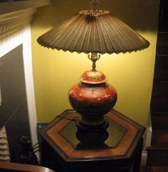 PRICE CUT: GILT DRAGON-CHINESE STYLE, RED GINGER JAR LAMP ON WOOD BASE