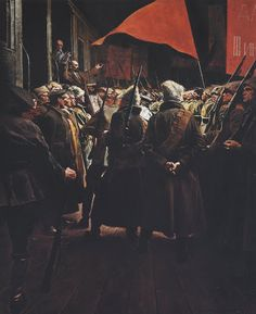"1959 painting by Isaak Brodsky - ""Lenin Addressing the Troops"" Communist Propaganda, Propaganda Art, Soviet Art, Soviet Union, Russian Revolution 1917, Le Vent Se Leve, Geek Movies, Back In The Ussr, Social Realism"